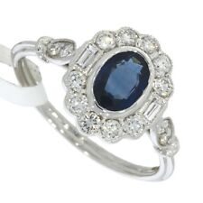 Art Deco Style Oval Cut Blue Sapphire and Diamond Ring 18ct White Gold