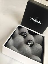 Chanel Black Crystal Boucles D'Oreil Plate Earrings