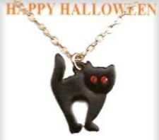 Halloween 18 inch Vintage Black Cat Necklace With 2 Crystal Stones, USA, NEW