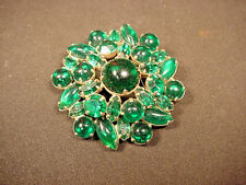 """WEISS PIN Deep GREEN Cabochon & Faceted Rhinestones All lovely & intact 2"""" wide"""