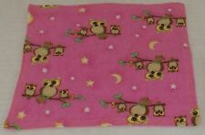 Muslin & Flannel Baby Wash Cloth Pink with Owls Flannel/Unbleached Muslin