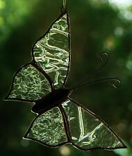 Etherial CRYSTAL BUTTERFLY Stained Glass Suncatcher CUSTOM LEADLIGHTS in STORE