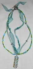 Green Beaded Necklace with Green Leather Cord and Ribbon and Plastic Pendant