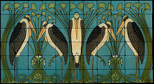 Art Nouveau Cranes Still Life Marble Tile Mural Backsplash 44x24 William Morris