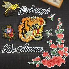 Tiger patch / Tattoo Patch / flower/ Bird / Embroidered patch / Sew on patch/Set