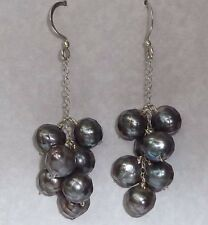 Vintage Sterling Earrings, 8mm Facetted Black Pearl Beads, Konder #1084