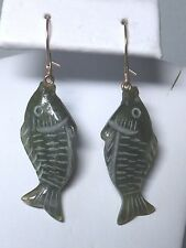 Brand New 14 Karat Yellow Gold Green Jade Hand-carved 3-D Fish Dangle Earrings