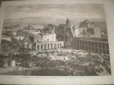 Plaza Mayor and encampment Arequipa Peru after earthquake 1868 old print ref W1