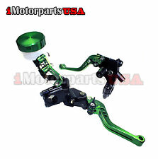 GREEN SHORTY CLUTCH BRAKE LEVERS W/ MASTER CYLINDER KAWASAKI NINJA ZXR ZX ZZR