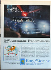 1955 magazine ad for Borg Warner Transmissions, Police car photo, Used by Police