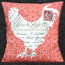 """SHABBY CHIC COCKEREL POST FRENCH COUNTRY STYLE CORAL 16"""" Pillow Cushion Cover"""