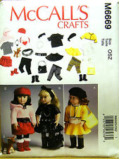 "MCCALLS PATTERN 6669 18"" DOLL CLOTHES ACCESSORIES & DOG   UN-CUT"