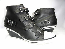 Ash Brand Thelma Ankle Strap Buckle Zip Boot Wedge Sneakers Black  EU 39