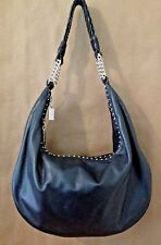 Donald J. Pliner Black Leather w/Woven Handle Chains Metal Studs Hobo Handbag