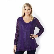Fashion by Together Lace Tunic with Crochet Neckline Trim Purple Size Small BNWT