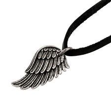 Angel Wing Antique Silver Pendant Black Leather Necklace Jewelry Goth Steampunk