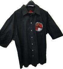 Crown Holder Shirt 3XL Black Cotton Button Down Short Sleeve Mens XXXL