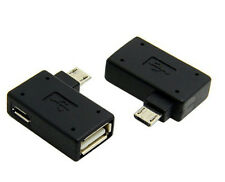 90 Degree Left Angled Micro USB to USB female OTG Adapter with USB Power port
