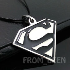 Fashion Personality Stainless Steel Black Superman Pendant necklace FF78