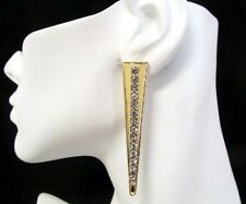 Gold Long Triangle Stud Earrings with Rhinestones, 2.75   Love and Hip Hop Style
