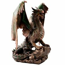Bronzite Dragon Standing on Rock Statue Collectible Figurine 9 Inch Bronze Green