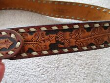 VTG Tony Lama Mens Size 36 Belt - with name BUTCH - Hand Tooled Leather ACORNS
