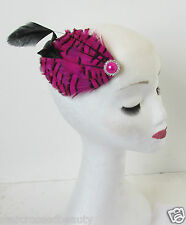 Hot Pink & Black Real Feather Fascinator Hair Clip Headpiece Vintage Silver N70