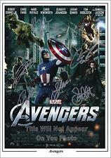 The Avengers Cast Signed Photo Poster Marvel Captain America Re-Print Size A4
