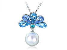 Lady Peacock Fan Light Sapphire Large Faux Pearl Pendant Necklace
