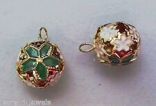 18mm Christmas Bells Cloisonne Green Poinsettia INTERCHANGEABLE Earring Charms
