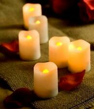 SET OF 6 SMALL FLICKERING LED FLAMELESS WAX VOTIVE CANDLES BATTERY OPERATED