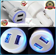 CAR CHARGER DOUBLE USB CIGARETTE ADAPTER WHITE 2.1A 12-24V FOR APPLE SAMSUNG