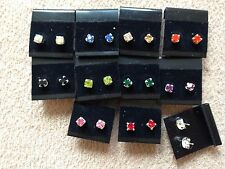 WHOLESALE-10 pairs of 0.5 cm colour diamonte stud earring. Silver plate UK made