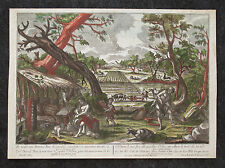 Rare Georg Balthasar Probst Hand Colored Engraving Print Biblical Garden Eden