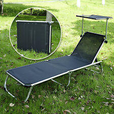 Outsunny Patio Lounge Chair Chaise Recliner Garden Lounger Bed w/ Canopy Black