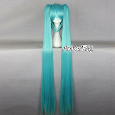 Vocaloid Hatsune Miku Anime Cosplay Long Light Blue Cosplay Wig + Two Ponytails