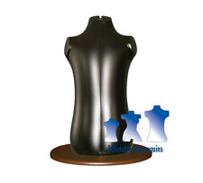 Inflatable Toddler Torso, Black And Wood Table Top Stand
