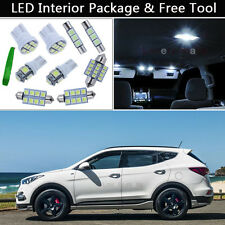 9PCS White LED Interior Lights Package kit Fit 2013 - 2016 Hyundai Santa Fe J1