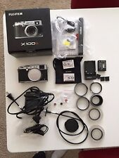 MINT Fujifilm X100S 16.3 MP Digital Camera Silver in box w TONS extras Low Click