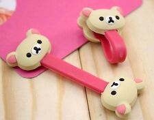 FD4906 Beige Rilakkuma Relax Bear Earphone Cable Bobbin Winder Organizer 1pc