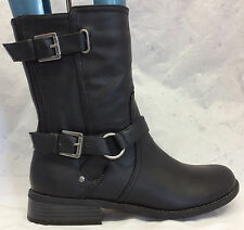 G BY GUESS Sz 10 M Women's Black Harness Buckle Straps Side Zip Mid Calf Boots