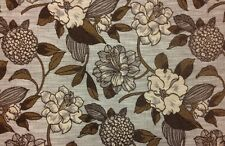 """FLOWERS BEIGE BROWN JACQUARD CHENILLE FLORAL FURNITURE FABRIC BY THE YARD 56""""W"""