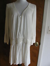 New w/tags Free People Women's Embroidered Ivory Rayon Mini Dress Size Large