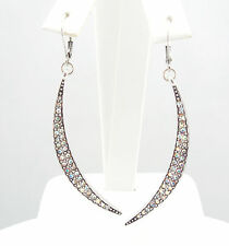 KIRKS FOLLY ASTRAL NEW MOON LEVERBACK EARRINGS  ST/ CRYSTAL AB