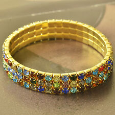 3 Row Multi-Color Swarovski Crystal 9K GF adjustable Womens Bracelet F5724