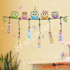 Cute Owl Birds Branch Colorful Vinyl Kids Home Decor Mural Wall Stickers Decal