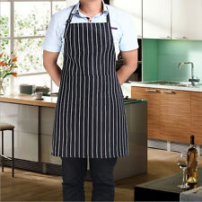 Polyester Stripe Bib Apron With 2 Pockets Chef Waiter Home Kitchen Cooking Apron