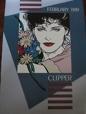 "~ February 1989 Clipper Salon Hair Styling Advertising Poster Vintage 19"" x 12"""