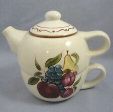 Home Around The Orchard Tea For One Teapot and Cup Fruit Motif Pear Grapes Plums