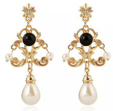 BEAUTIFUL ZARA BAROQUE STYLE WHITE BLACK PEARL DROP DANGLE EARRINGS NEW